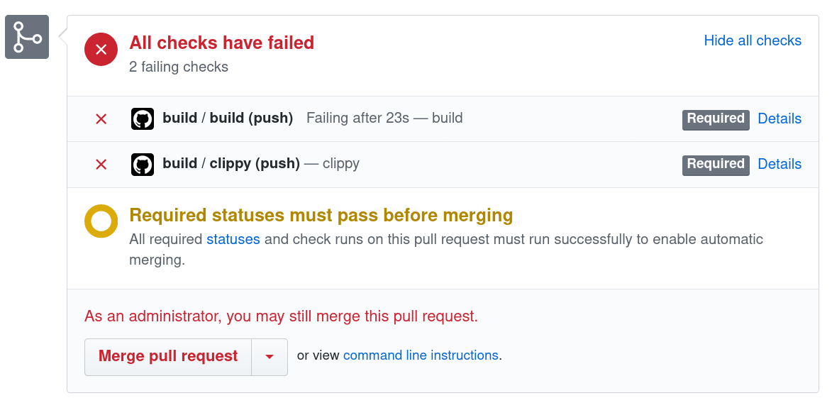 Github actions failing build overview.
