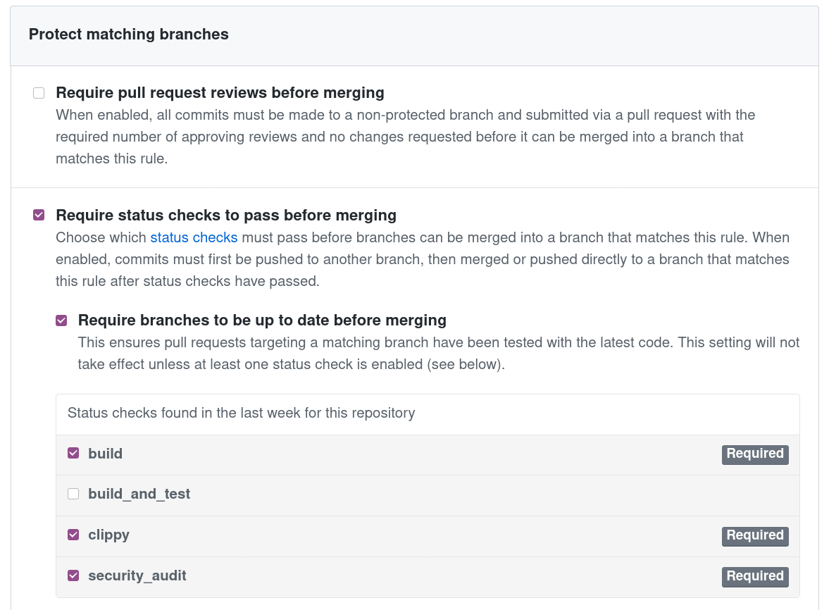 Add security_audit workflow to the protected branch settings.