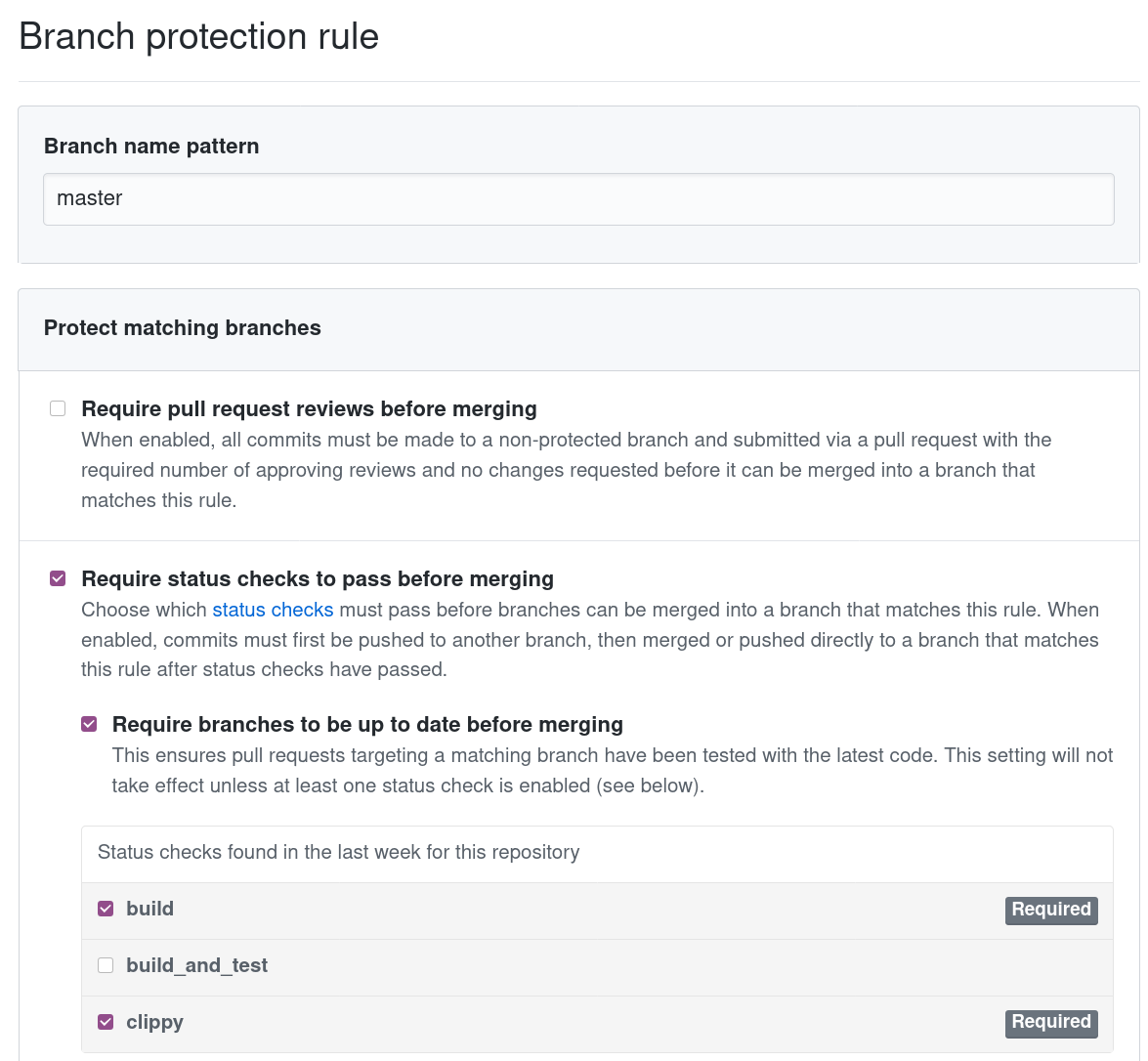View of githubs protected branch rules settings.