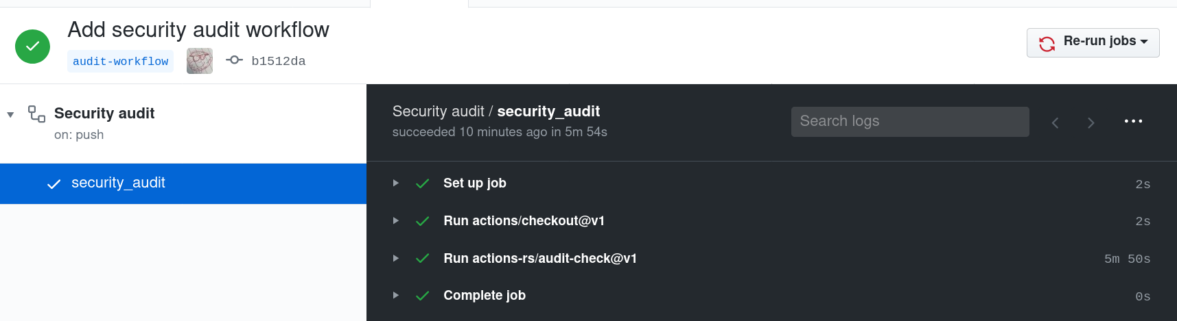 Overview of actions when we add the security audit workflow.