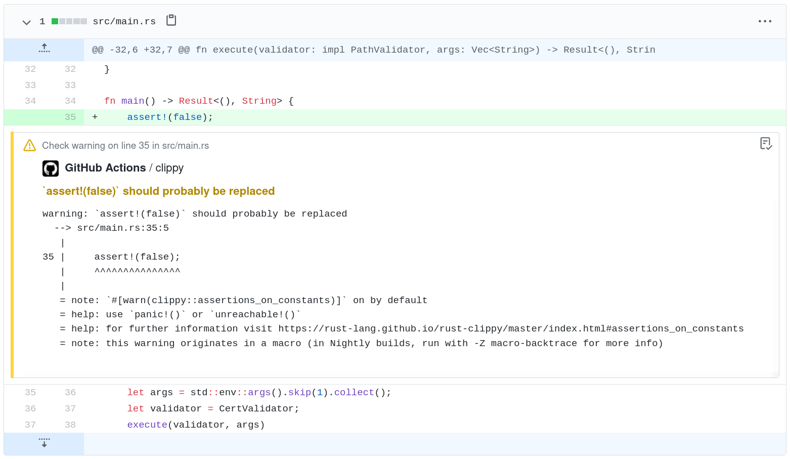 Single clippy warning in github actions.